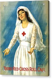 Red Cross Nurse - Ww1 Acrylic Print by War Is Hell Store
