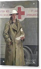 Red Cross Officer In France Acrylic Print by Hadyn Reynolds Mackery