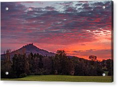 Red Dawn Over The Hohenzollern Castle Acrylic Print