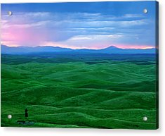 Red Dawn Over The Palouse Acrylic Print by Mike  Dawson