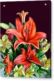 Red Day Lily Bouquet Acrylic Print by Linda Phelps