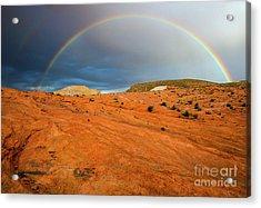 Red Desert Rain Acrylic Print