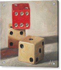 Acrylic Print featuring the painting Red Die by Joe Winkler
