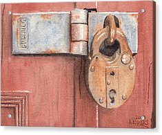 Red Door And Old Lock Acrylic Print by Ken Powers