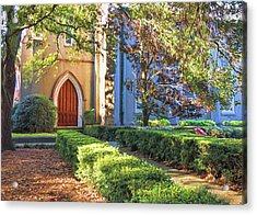 Acrylic Print featuring the photograph Red Door Church by Kim Hojnacki