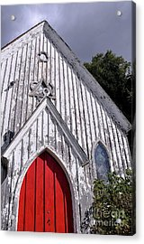 Red Door Acrylic Print by Gina Savage