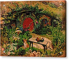 Red Door Hobbit House With Corgi Acrylic Print by Kathy Kelly