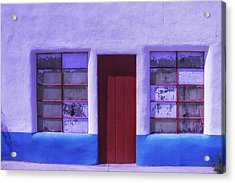 Red Door Old Building Acrylic Print by Garry Gay