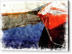 Red Dory Acrylic Print by Peter J Sucy
