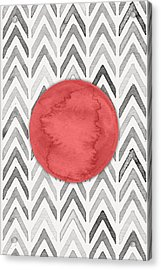 Red Dot On Chevron Watercolor Pattern  Acrylic Print