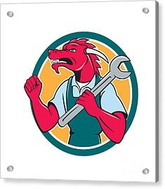 Red Dragon Mechanic Spanner Fist Pump Circle Acrylic Print by Aloysius Patrimonio