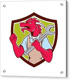 Red Dragon Mechanic Spanner Fist Pump Shield Acrylic Print by Aloysius Patrimonio