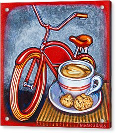 Red Electra Delivery Bicycle Cappuccino And Amaretti Acrylic Print