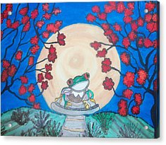 Red Eyed Frog Singing To The Moon Acrylic Print by Connie Valasco