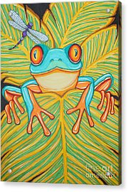 Red Eyed Tree Frog And Dragonfly Acrylic Print by Nick Gustafson