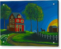 Acrylic Print featuring the painting Red Farm House by Gail Finn
