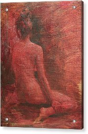 Red Figure Study Acrylic Print by Emily Olson