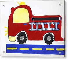 Red Fire Truck Acrylic Print by Christine Quimby