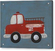 Red Fire Truck Nursery Art Acrylic Print by Katie Carlsruh