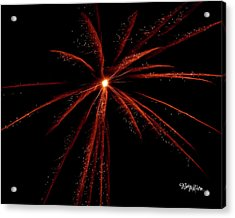 Acrylic Print featuring the photograph Red Fireworks #0699 by Barbara Tristan