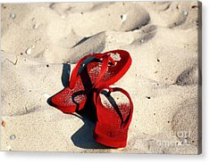 Acrylic Print featuring the photograph Red Flip Flops by John Rizzuto