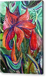 Red Flower Acrylic Print by Mindy Newman