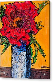 Red Flower Square Vase Acrylic Print