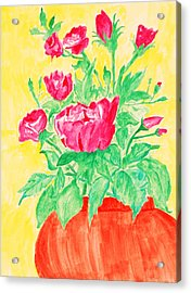 Red Flowers In A Brown Vase Acrylic Print by Jose Rojas