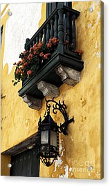 Red Flowers In Cartagena Acrylic Print by John Rizzuto