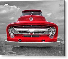 Red Ford F-100 Head On Acrylic Print