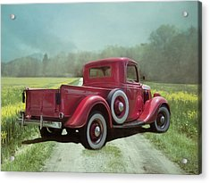Acrylic Print featuring the photograph Red Ford Pick-up by Robin-Lee Vieira