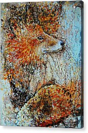 Red Fox Acrylic Print by Jean Cormier