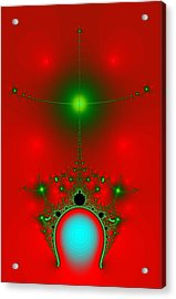 Acrylic Print featuring the digital art Red Fractal by Charmaine Zoe