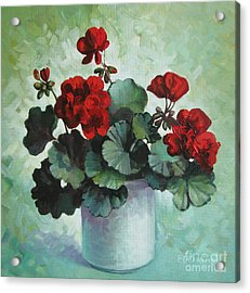 Acrylic Print featuring the painting Red Geranium by Elena Oleniuc
