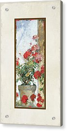 Red Geraniums Against A Sunny Wall Acrylic Print by Audrey Jeanne Roberts