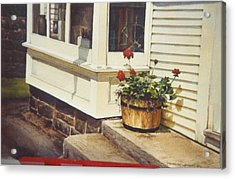 Red Geraniums Acrylic Print by Marion  Hylton