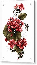 Red Geraniums On White Acrylic Print by Georgiana Romanovna