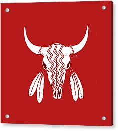 Red Ghost Dance Buffalo Acrylic Print by Steamy Raimon