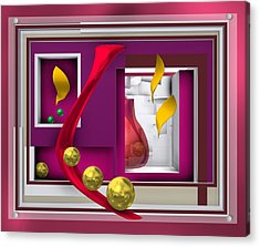 Red Glass In The Room With White Light Acrylic Print