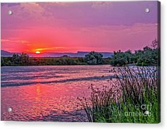 Red Glow Over The Snake River Acrylic Print