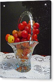 Red Grapes In Crystal And Lace Acrylic Print by Margie Avellino