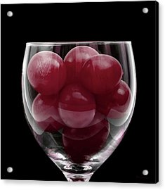 Red Grapes In Glass Acrylic Print
