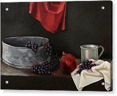 Red Grapes Acrylic Print by Raimonda Jatkeviciute-Kasparaviciene
