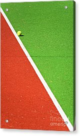 Red Green White Line And Tennis Ball Acrylic Print by Silvia Ganora