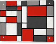 Acrylic Print featuring the digital art Red Grey Black Mondrian Inspired by Michael Tompsett