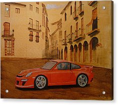 Acrylic Print featuring the painting Red Gt3 Porsche by Richard Le Page