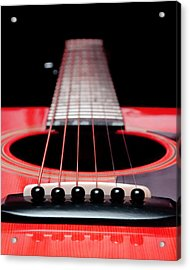 Red Guitar 16 Acrylic Print by Andee Design