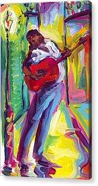 Red Guitar Acrylic Print by Saundra Bolen Samuel