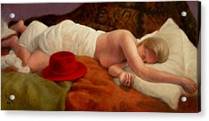 Acrylic Print featuring the painting Red Hat 7 by Donelli  DiMaria