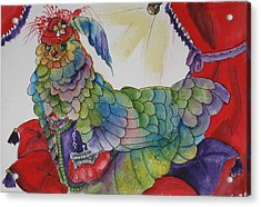 Red Hat Chick With Purse Acrylic Print by Gina Hall